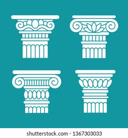 Set of four ancient greek, roman columns, pillars, orders, capitals. Design, decoration elements.