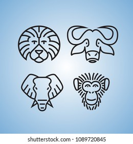 Set of four animal faces in outline style.