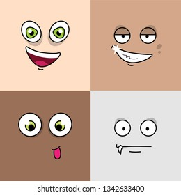 Set of four avatar expressions. Cartoon emojis. Avatar faces emotions.