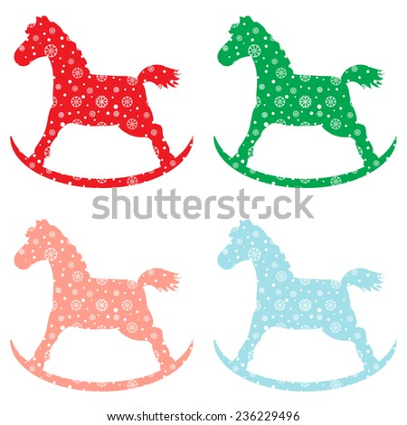 Set Four Baby Toys Rocking Horse Stock Vector Royalty Free