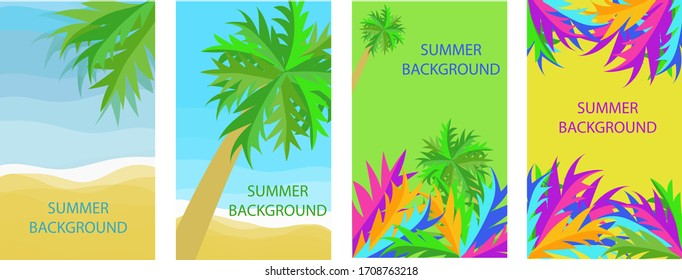 Set of four backgrounds with copy space for text, summer landscape, background for banner, greeting card, poster and advertising-summer holiday concept, vector graphics