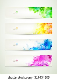 set of four banners,  headers with varicolored blots