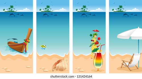 Set of four banners on vacations theme. Relaxing scene on a breezy day at the tropical beach.