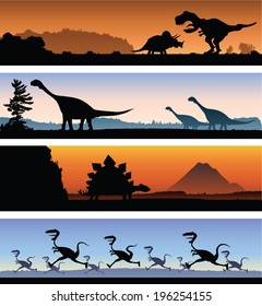 A set of four banners showing a variety of dinosaur scenes.