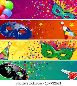 Set four banners vector carnival masks with horns ideal for parties-transparency blending effects and gradient mesh-EPS10