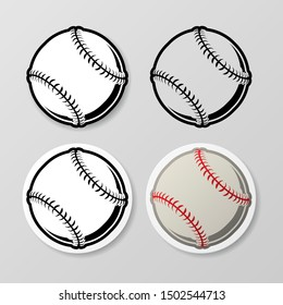 Set of four baseball stickers isolated on gray background
