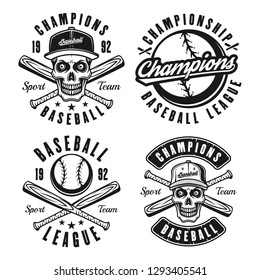 Set of four baseball vector black emblems, badges, labels or t shirt prints in vintage style isolated on white background
