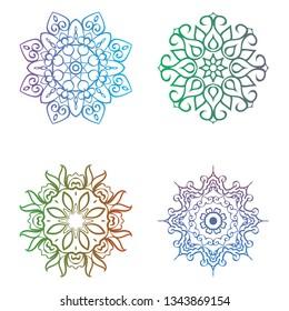 Set with four beautiful Mandalas. Vector decorative elements for your design.  Flower, oriental patterns