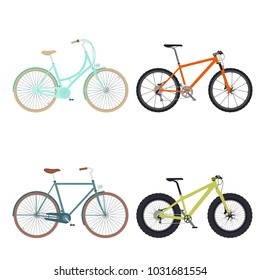 Set of four bicycles for walking isolated on white background. Flat style. Vector illustration.