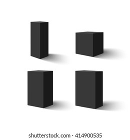 Set of four black blank boxes.  Box templates for your design. Vector illustration.