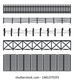 Set of four black fences isolated over white background, silhouette wooden fence set