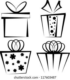 Set of four black gift boxes on white background