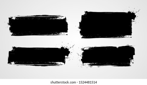 Set of four black grunge banners for your design. Abstract painted background templates. Horizontal banners