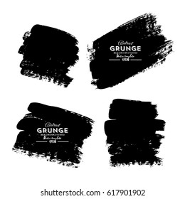 Set of four black grunge banners for your design
