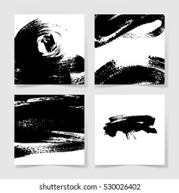 set of four black ink brushes grunge square pattern, hand drawing background collection for your design, brush strokes element vector illustration