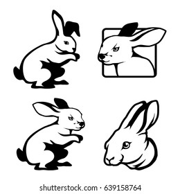 Set of four black  logo silhouettes of hare and rabbit, illustration isolated on white background, vector image of animals, fast bunny