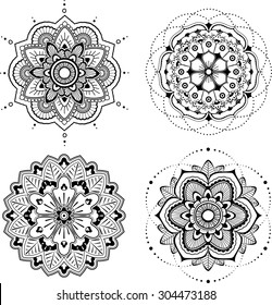 Set of four black mandala, white background