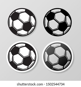 Set of four black soccer stickers isolated on gray background