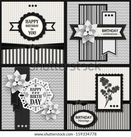 Set Four Black White Birthday Cards Stock Vector Royalty Free