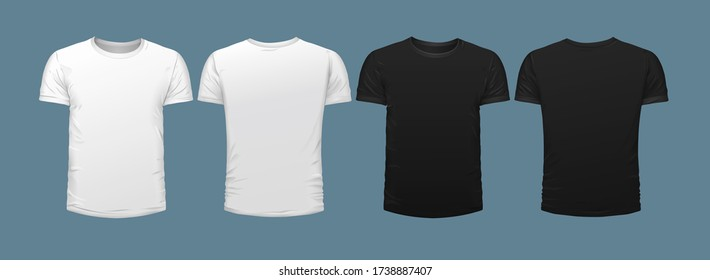 Set of four blank fronted T-shirts, two black, two white isolated on grey for use as clothing design templates, vector illustration