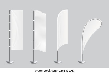 A set of four blank promotional feather flag stand banners mockup. Outdoor billboards or wind banners template in four shapes rounded and rectangular vector illustration isolated on transparent