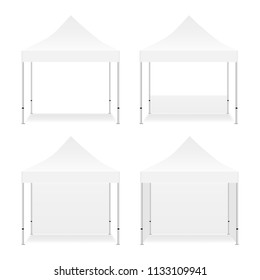 Set of four blank square tents, isolated on white background. Vector illustration