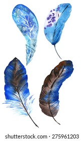 A set of four blue watercolor feathers