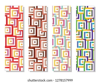 set of four bookmarks with colorful squares vector - geometrical shapes pattern