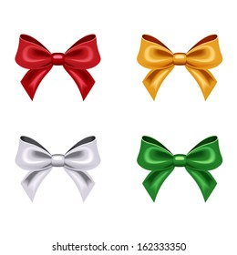 Set of four bows. Vector illustration.