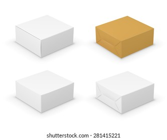 Set of four boxes with different packing design, Vector illustration Isolated On White Background