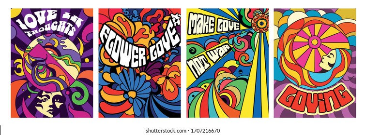 Set of four bright psychedelic Love themed posters with modern abstract patterns and assorted text, vector illustration