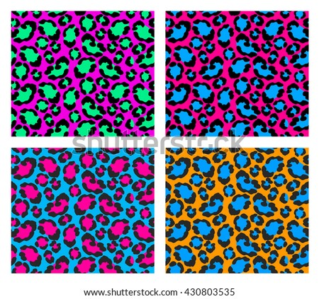 set four bright seamless patterns cheetah stock vector royalty free rh shutterstock com cheetah print vector image Cheetah Print Drawing
