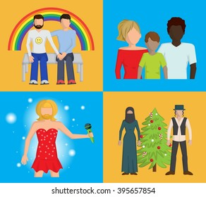 Set of four bright vector flat illustrations showing that people have to be tolerant