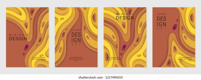 Set of four brochure, flyer or card; Abstract paper cut warm background with wavy layers; Realistic carving art; Vector 3d template with place for text.