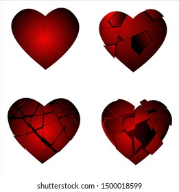 set of four broken hearts, glass heart shattered, fragile, broken. vector file eps 10