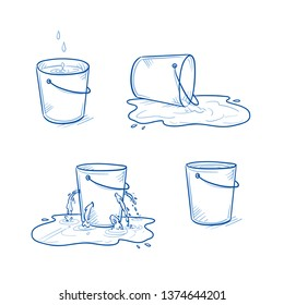 Set of four buckets. Full and empty one, one toppled over and a leaking one in a puddle. Hand drawn doodle vector illustration.