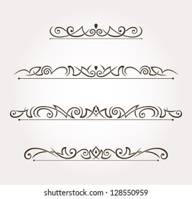Set of four calligraphic design elements and page decoration. Vector illustration
