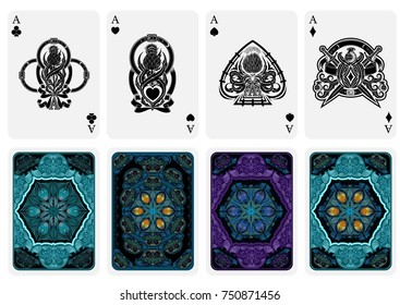 Set from four card aces with different faces in scotland style with thistle pattern and four backs with abstract suits