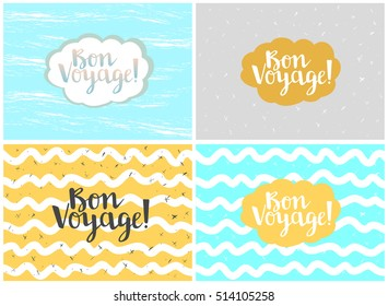 Set of four cards, vector templates. Bon voyage.