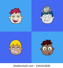 Set of four cartoon avatar faces. Emojis. Cute avatars.