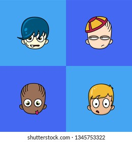 Set of four cartoon avatar faces. Emojis. Cute avatars. Cute characters.