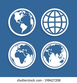 Set of four characters globe for your design works