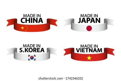 Set of four Chinese, Japanese, South Korean and Vietnamese ribbons. Made in China, Made in Japan, Made in South Korea and Made in Vietnam. Simple symbols with flags isolated on a white background
