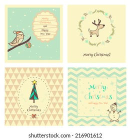 Set of  four Christmas  and New Year vintage postcard