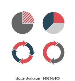 Set of four circle color diagrams, isolated on white background.
