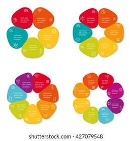 Set of four circular flower infographic diagrams with 5, 6, 7, 8 options. Isolated paper sequence banners for tutorial. EPS10 progress steps templates.