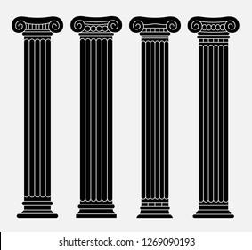 Set of four classic greek, roman ancient columns. Black linear silhouettes. Vector illustration.