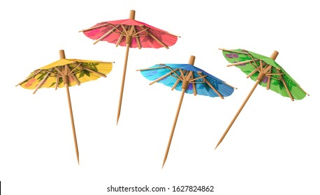 Set of four cocktail umbrellas of different colors on a white background. Highly realistic illustration.