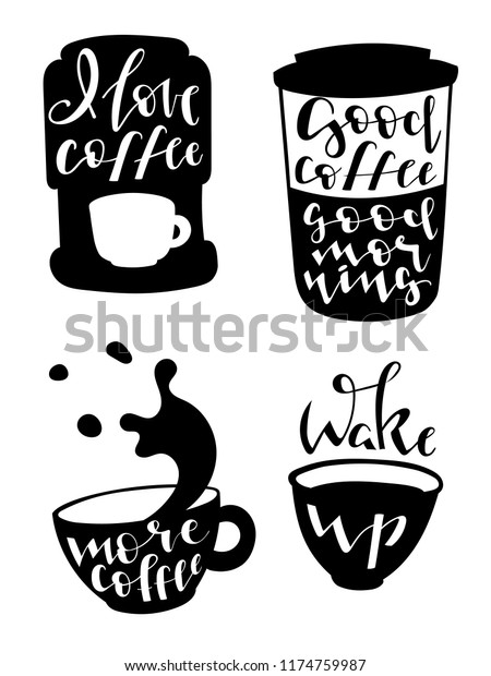 set four coffee pictures calligraphic quotes stock vector royalty