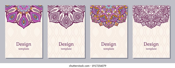 Set of four color cards or flyers with ethnic mandala ornament. Abstract mandala design. Decorative colorful pattern with ornate texture, tribal ethnic oriental motif. Vector layout design.